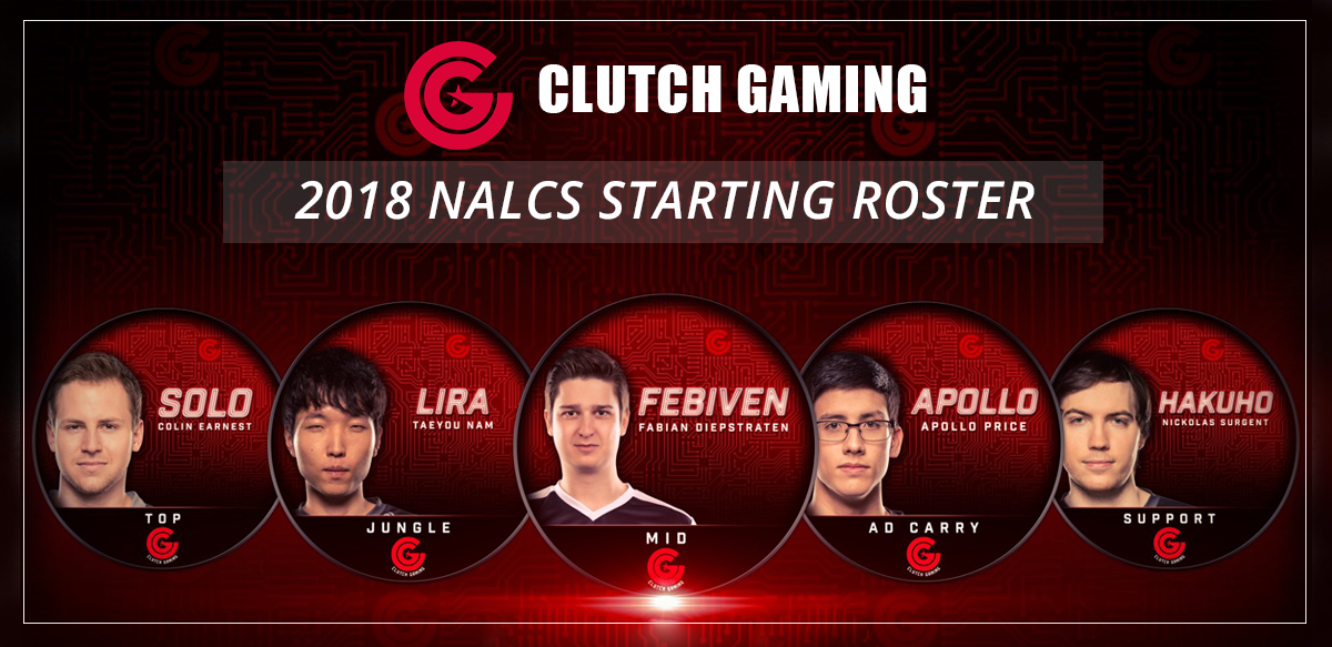 clutch gaming, full, roster, 2018, na lcs, esports
